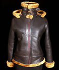 Ladies Aviator Ginger Brown Hooded Winter Real Sheepskin Leather Flying Jacket