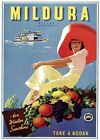 Mildura, for Winter Sunshine Victoria Australia Vintage Travel poster Northfield