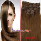 HOT~Clip In Remy Human Hair Extentions #8 Chestnut Brown 4 length 70g/100g HSM