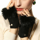 Women's  genuine suede leather fingerless Gloves with supple rabbit fur trim