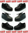 WOMEN'S LADIES CASUAL PLATFORM HEEL LACE-UP STUDDED CREEPERS CRUSHERS GOTH PUNK