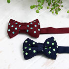 Dad Boys 2 Size Mint Dots Navy Wine Dressy Knit Bowtie Necktie MADE IN KOREA