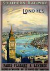 London-Paris, St Lazare. Vintage SR Travel Poster print. 1923-1947