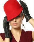 Ladies'touchscreen super warm real nappa leather gloves w/delicate cuff L001NC1