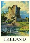 Irish Castle with Horse drawn Cart. Vintage Travel Poster art print of Ireland