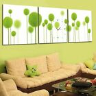 Refreshing Abstract Green Plant Modern Wall Clock On Canvas Prints Set Framed