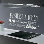 A MESSY KITCHEN... KITCHEN DINING ROOM QUOTE FUNNY WALL ART MURAL STICKER VINYL