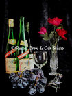 Wine with Roses & Grapes Original Handmade Signed Matted Picture A230