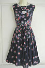 Fab Ex BHS Navy Blue Pink Green Blue Floral Print Belted Dress Size 8