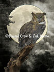 Green Brown Black Tan Gold Yellow Owl Bird Moon Wall Decor Matted Picture  A271