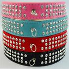 Suede Leather Rhinestone Dog Collar Black, Blue, Red, Pink Diamante 3 Rows