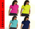 2 x Ladies Girls Fitted T Shirts Tops Size UK 8 to 18 Plain 100% Cotton 2 PACK