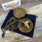 Brass Pocket Sundial Compass w Lid ~ Antique Finish ~ Nautical Maritime