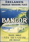 Bangor & Ballyholme Bay via Heysham & Belfast Ferry. Irish Vintage Travel Poster