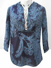 NEW White Stuff tunic top~Blue tropical leaf print~8-10-12
