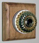 Ribbed Brass & Ceramic Dolly Switch Single Oak Pattress