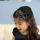 Girls Women Cute Black Cap Fascinator Party Dressy Lovely Hair Clip Accessories