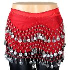 158 Silver Coins Belly Dance High Quality Hip Scarf Skirt Wrap Chiffon Sequins