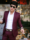 Trendy New Mens Slim Fit one Button Suits Dress Coat Blazer Pants Burgundy S006