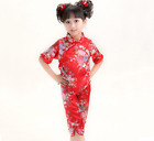 Chinese Japanese Oriental Childrens Girls Floral Flower Top Troushers Set Pyjama