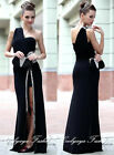 Lady Evening Cocktail Party Prom Formal One Shoulder Black Long Dress Plus 2103