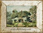 Old Country French European Thatched Roof COTTAGE Pink ROSES Antique ART PRINT
