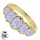 Amazing Solid 9ct Yellow Gold Victorian Style 2ct Opal 5 Stone Ring Sizes K - V