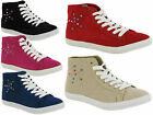 WOMENS/LADIES/GIRLS HI TOP SPORTS PUMP SHOE LACEUP ANKLE BOOT TRAINER SIZE 3-8