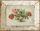 PINK & Pale RED VINTAGE ROSES in bowl 1940s-50s Retro Cottage Kitsch ART PRINT
