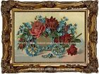 Victorian Gold Trim RED ROSES Forget-Me-Nots in Wagon Antique Vintage ART PRINT