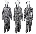WOMENS LADIES ANIMAL PRINT HOODED COTTON ONESIE JUMPSUIT ALL IN ONE SIZE 8-14