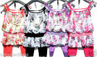 BN*GIRLS LINED***FLORAL CHIFFON TOP WITH PEARL NECKLACE***& LEGGINGS SET (multi)