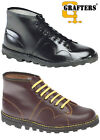 Mens Boys New Black / Wine Red Leather Grafters Monkey Boots UK 3 - 12