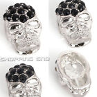 Loose Charm Skull Beads Crystal Pave Sideway Spacer Shamballa Bracelet Connector