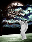 Angel and White Crows against Tree and Full Moon Matted Picture Art Print A386