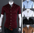 SD35 New Mens Fashion Casual Luxury Dress Slim Fit Short Sleeves Shirts 5 Colors