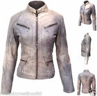 Ladies Zipped Bomber Biker Style Retro 100% Real Soft Leather Jacket