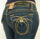 LA Idol Denim Capri Short Blue Classic Jeans Flap Pockets Rhinestone Size 0-15