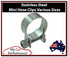 2x Mini Fuel Line Hose Clamps Clips - Stainless Steel - Air Water Diesel Petrol