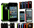 Black Rubber Rugged Hard Matte Case Cover For Iphone 4 / 4S w / Screen Protector