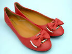 New Womens Ballet Dolly Pumps Ladies Blue Red Bow Ballerina Flat Shoes Size 3-8