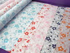 CRAZY LARGE FLORAL FLOWERS POLY COTTON FABRIC FORGET ME NOT FLOWERS PER METRE