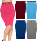WOMENS LONG PLAIN BELTED BODYCON OFFICE PENCIL SKIRT LADIES DRESS UK 8 10 12 14