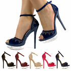 WOMEN LADIES PEEP-TOES PLATFORM HOT HIGH HEELS ANKLE STRAP PARTY SHOES SIZE 3-8