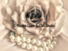 Romance! Pink Rose & White Pearls Signed Original Matted Picture Art Print A432