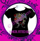 Lady with Butterfly Hair - Iron on Rhinestone T-Shirt - Bling Natural Style Top