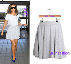 NEW CELEB GREY SPECKLE JERSEY SKATER MINI SKIRT FLARE HIGH WAISTED UK 8-14