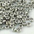 100 PCS 7 mm Silver Alphabet/Letter Acrylic Spacer Beads single letter A-Z
