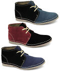 Mens Suede Leather Contrast  2 Eyelet Lace-Up Two Tone Comfy Ankle Desert Boots