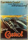 Castrol Oil, Vintage Land Speed Record poster art. Captain Malcolm Campbell 1928